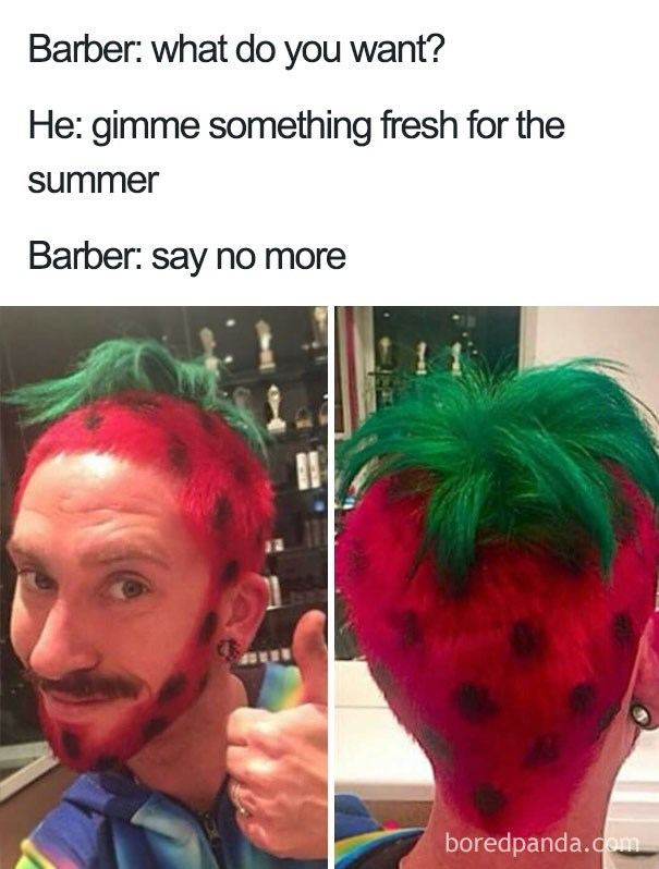 haircut meme of someone that looks like a strawberry