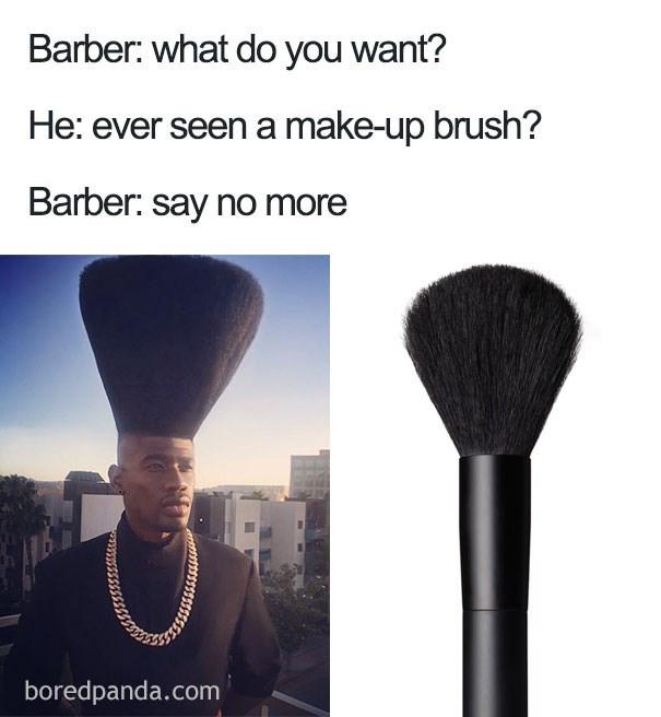 Haircut that looks like a makeup brush