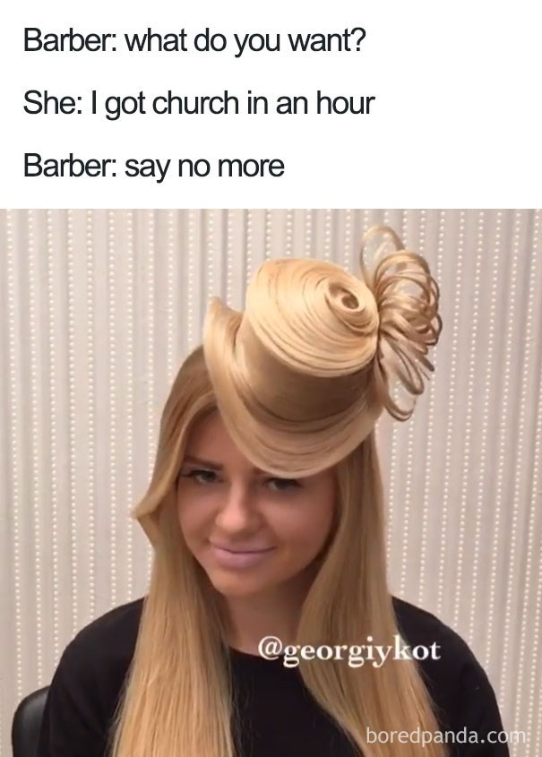 Hairstyle that looks like she is wearing a hat made of hair.
