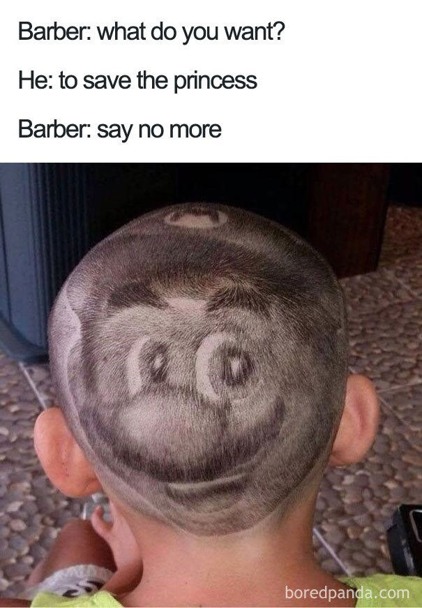 Mario Bros haircut.