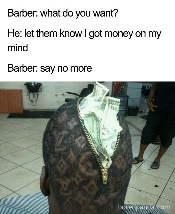 haircut that looks like bag full of money.