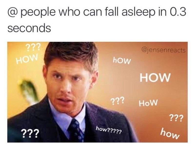 Confused meme asking how can people fall asleep in 3 seconds