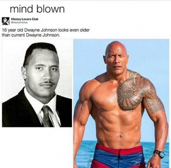 Picture of a young Dwayne Johnson who looks even older.