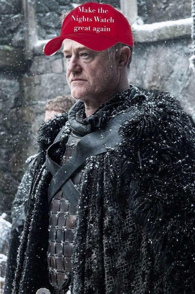 Meme of Night Watch leader wearing a Donald Trump style hat - Game of Thrones Meme