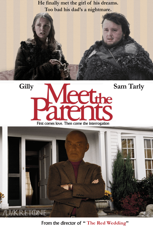 Meme of Sam Tarly and Gilly as Meet The Parents movie poster.