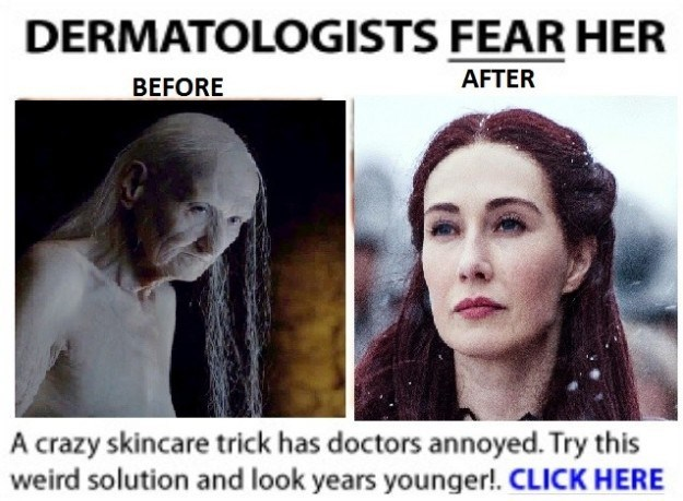 Game of Thrones meme of the red haired woman as a dermatologists worst nightmare.
