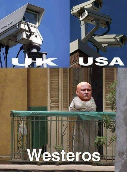 Meme about how security in UK and USA is a bunch of CCTV cameras, but in Westeros it is the eunuch on the balcony