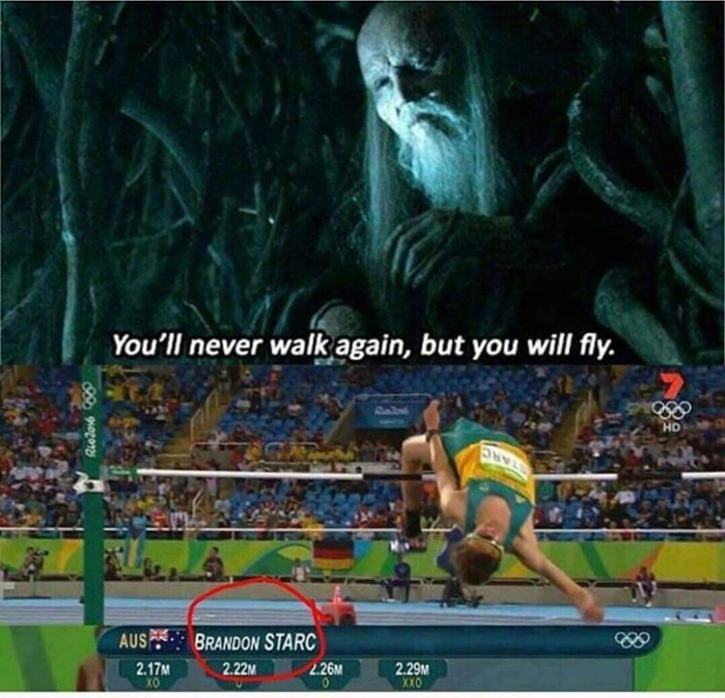 Meme of Stark boy who won't walk again, but will fly.