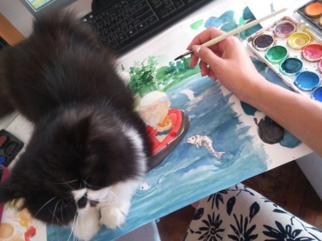 cat on the painting area