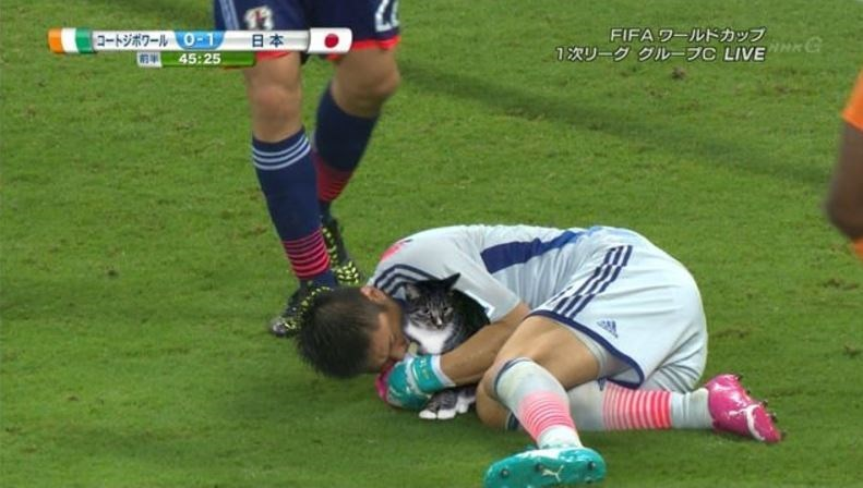Goalie cuddling with cat on the field