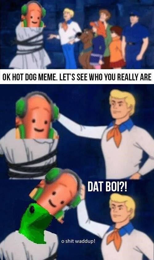funny meme about snapchat hot dog in the scenario of scooby doo.