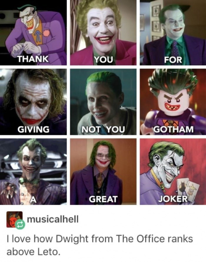 Sunday meme about Jared Leto's Joker being terrible
