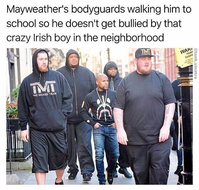Sunday meme about Mayweather protecting himself from McGregor
