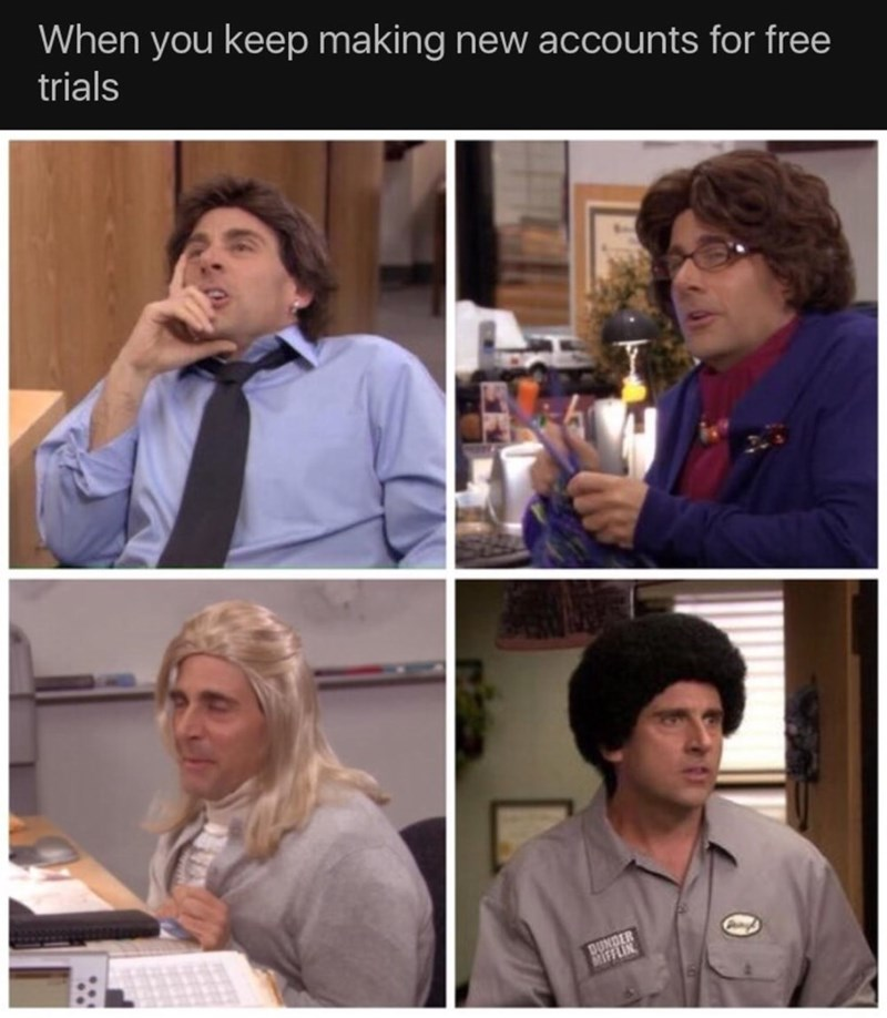 Sunday meme about making fake accounts with pics of Michael Scott in different costumes