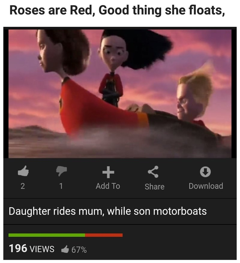 Sunday meme with The Incredibles scene described inappropriately