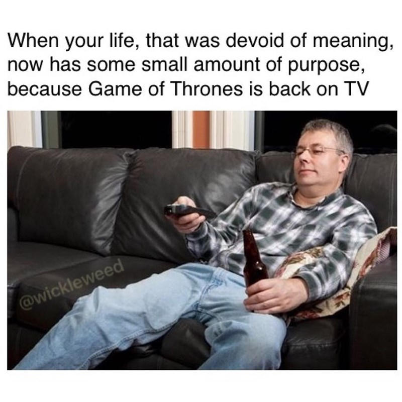 Funny meme about life having meaning now that game of thrones is back.