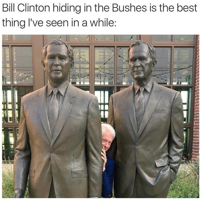 Funny pun meme of bill clinton hiding in bushes, hiding between two statues of the president bushes.