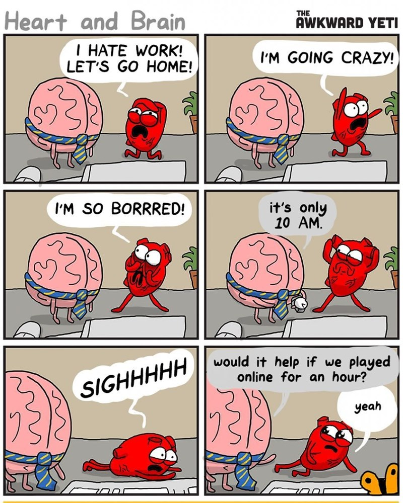 funny web comic about a heart and a brain, hating work.
