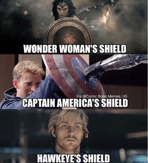 Photo caption - WONDER WOMAN'S SHIELD Via @Comic.Book. Memes   IG CAPTAIN AMERICA'S SHIELD HAWKEYE'S SHIELD