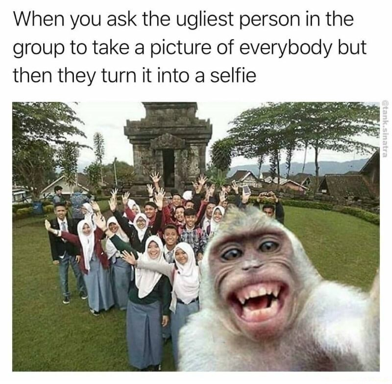Facial expression - When you ask the ugliest person in the group to take a picture of everybody but then they turn it into a selfie @tank.sinatra