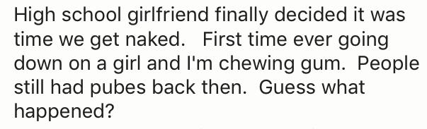 sex story of boy who got gum stuck in GF pubes