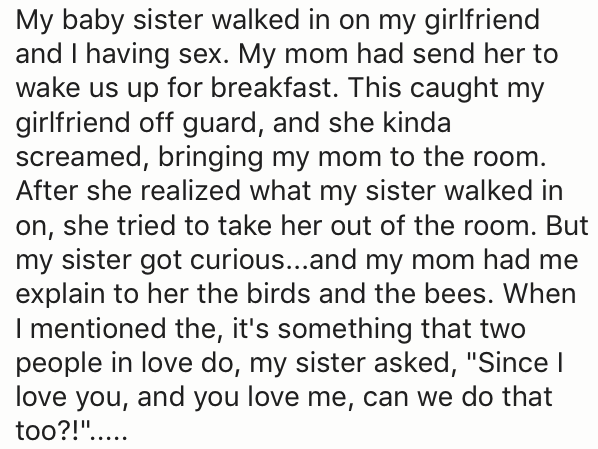 birds and bees talk when sister walked in on them