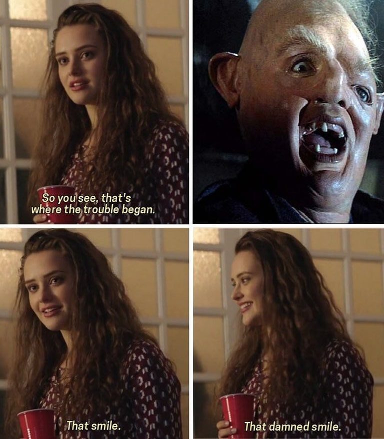 "Funny 13 reasons why ""that damned smile"" meme with Sloth from the goonies."