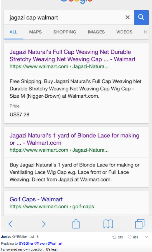 Text - jagazi cap walmart VIDEOS ALL MAPS SHOPPING IMAGES Jagazi Natural's Full Cap Weaving Net Durable Stretchy Weaving Net Weaving Cap ... - Walmart https://www.walmart.com Jagazi-Natura... Free Shipping. Buy Jagazi Natural's Full Cap Weaving Net Durable Stretchy Weaving Net Weaving Cap Wig Cap Size M (Nigger-Brown) at Walmart.com. Price US$7.28 Jagazi Natural's 1 yard of Blonde Lace for making or .. - Walmart.com https://www.walmart.com Jagazi-Natura... Buy Jagazi Natural's 1 yard of Blonde L