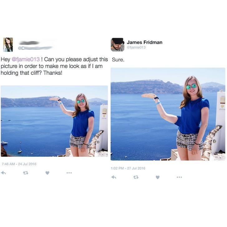Girl asks James to photoshop the cliffs to her arm level and he moves her arm to attach it to her hip