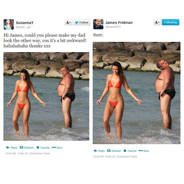 James photoshops a dad from looking at his daughter on the beach but he looks like he has a broken neck.
