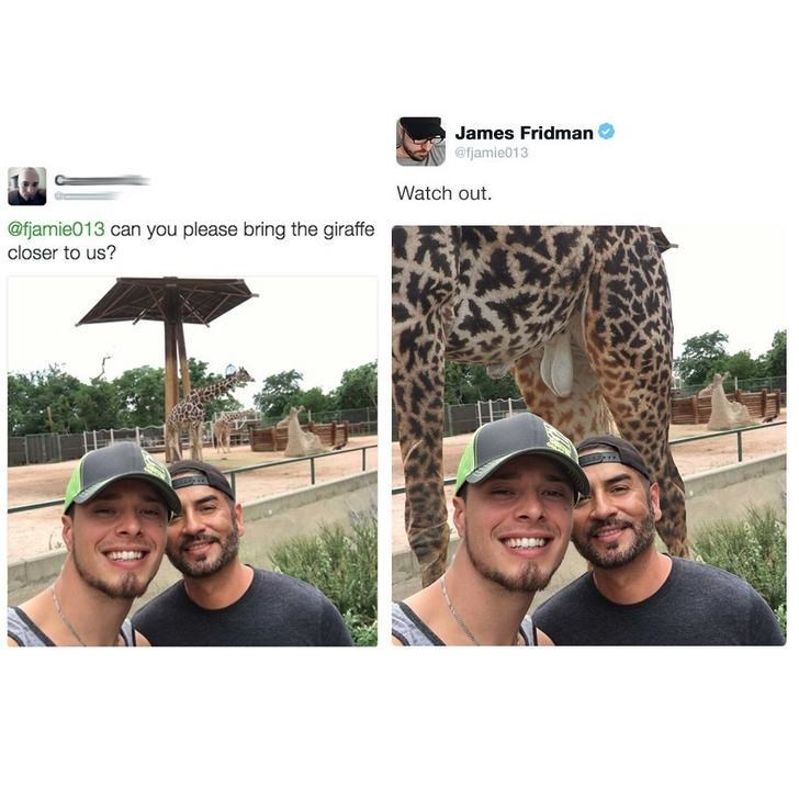 Man and father request their selfie in front of giraffe and he brings it really up close and view of the giraffe's balls