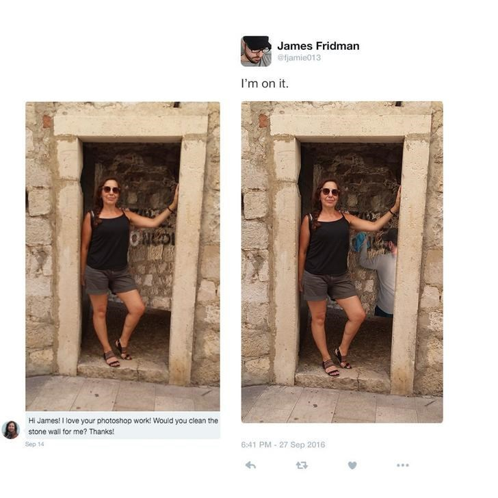 Girl asks for James to clean the wall behind her and he photoshops himself into the wall as if he is cleaning it.