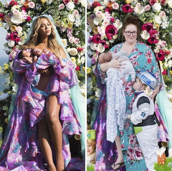 woman posing side by side pics of beyonce