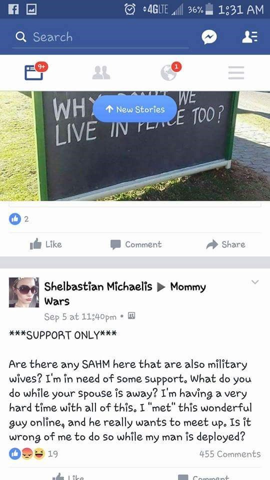 group on facebook of wives of military men