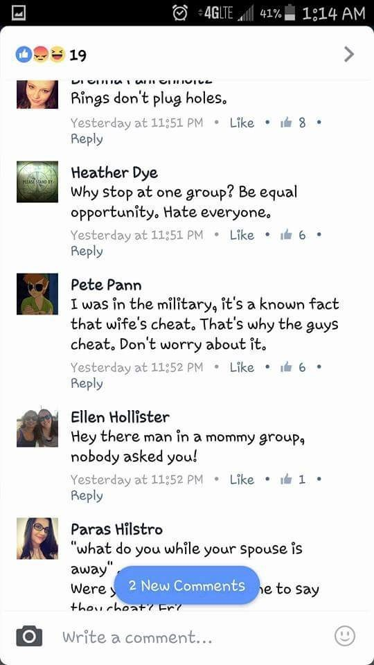 Dishearting thread on facebook about military wives and husbands cheating on each other.