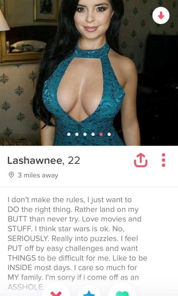 Girl with massive boobs apologizes for coming off as an asshole on her Tinder profile.