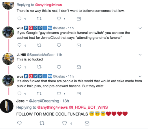 People agreeing that this live stream of a funeral is just further proof of how messed up the world is