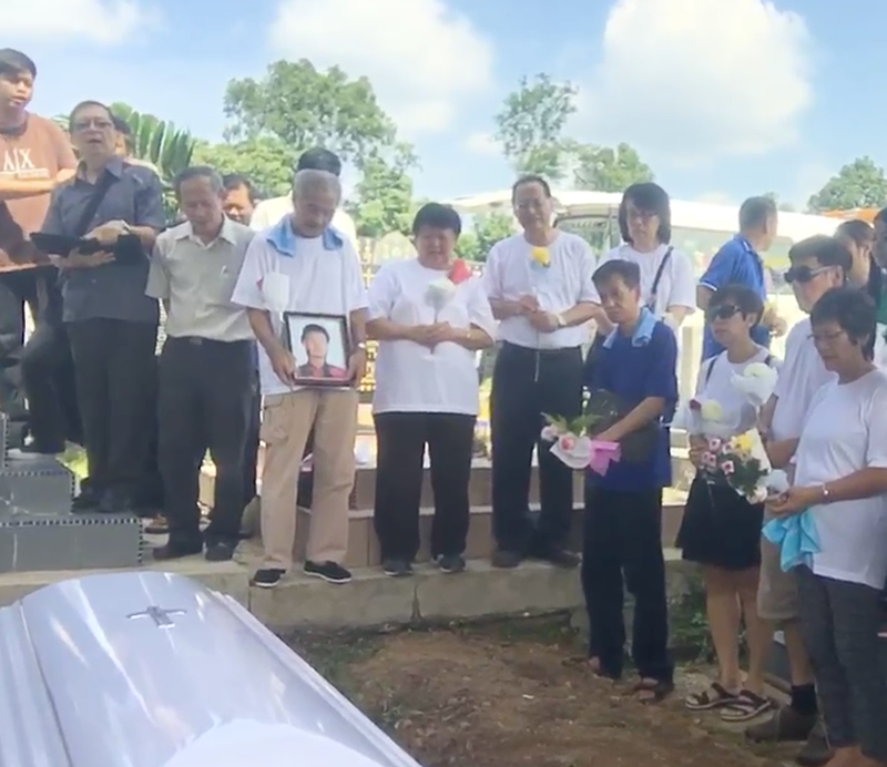 Mourner's at grandma's funeral, being live streamed