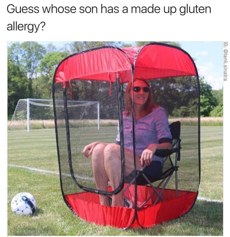 """Picture of mom in ridiculous tent chair that makes a joke about how her kids are probably """"gluten-free"""""""