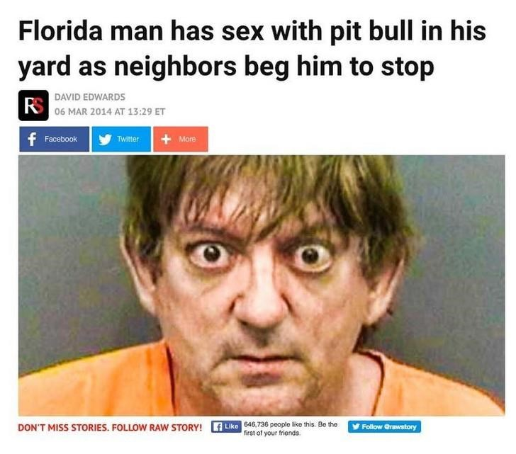 Florida man has sex with his dog in front of his neighbors