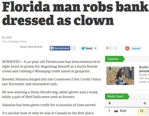 Florida man robs a bank while dressed as a clown