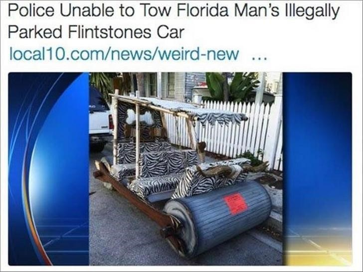 Florida man owns a Flintstones car and police are unable to tow it