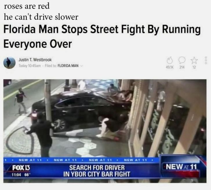 Florida man stops a street fight by running over them with his car