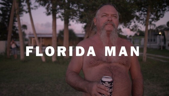 Florida man with a picture of a man shirtless and holding a beer