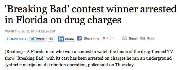 Florida man arrested over drugs was supposed to watch the finale of Breaking Bad with the cast