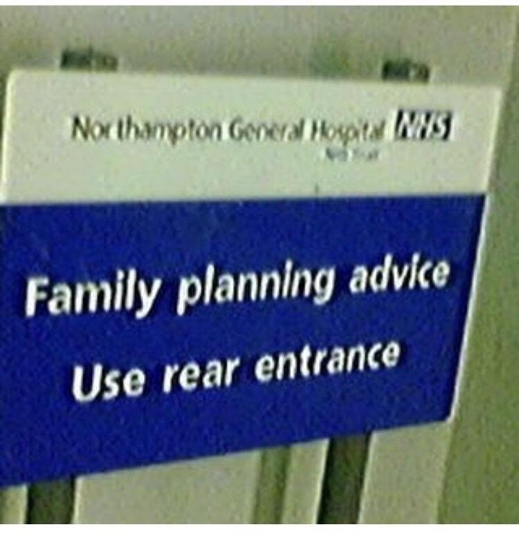 Sign that makes joke about contraception.