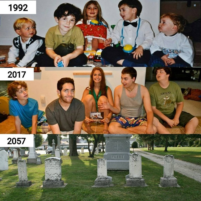 Funny meme about people recreating their childhood photos and it ends in their graves.