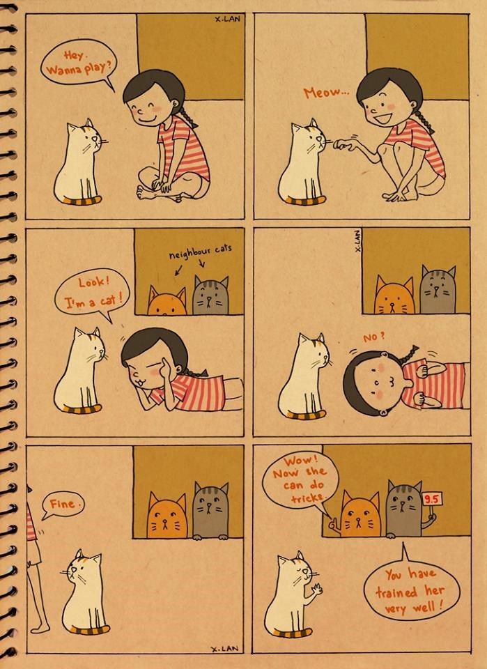 comics showing how cat manipulates human