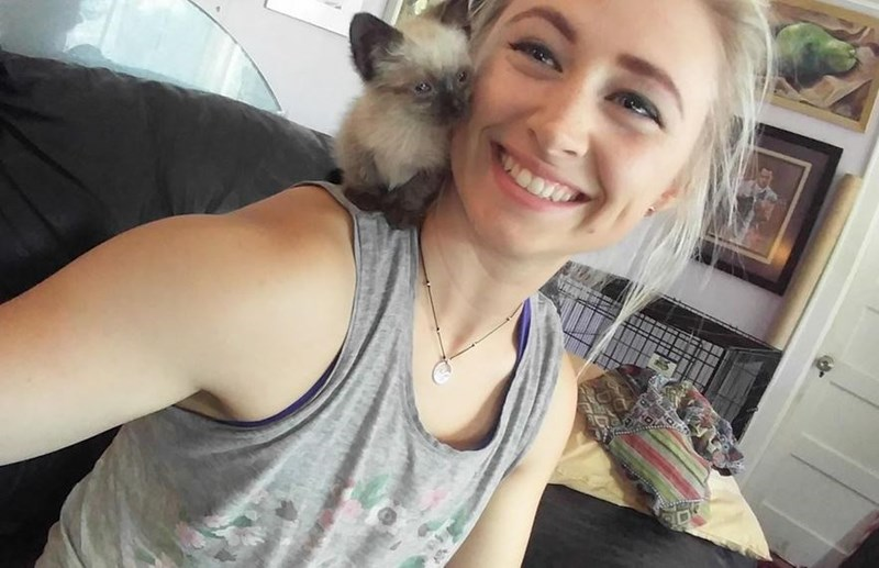 Kitten cuddling on a girl's shoulder