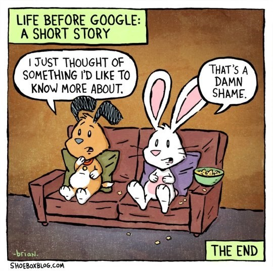 Cartoon - LIFE BEFORE GO0GLE: A SHORT STORY IJUST THOUGHT OF SOMETHING ID LIKE TO KNOW MORE ABOUT THAT'S A DAMN SHAME THE END briaN. SHOEBOXBLOG.COM